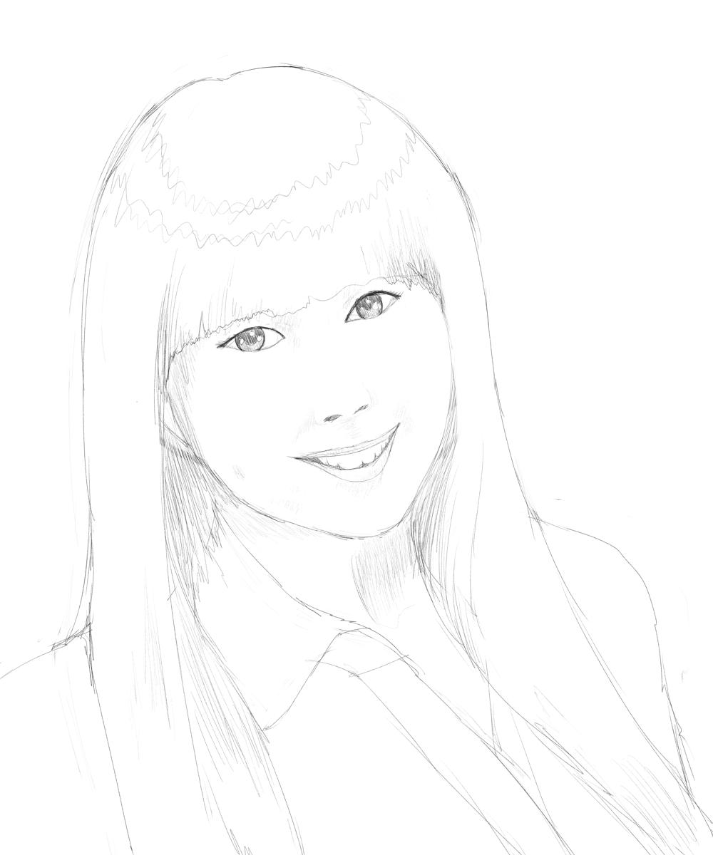 下田麻美を描く、ラフ