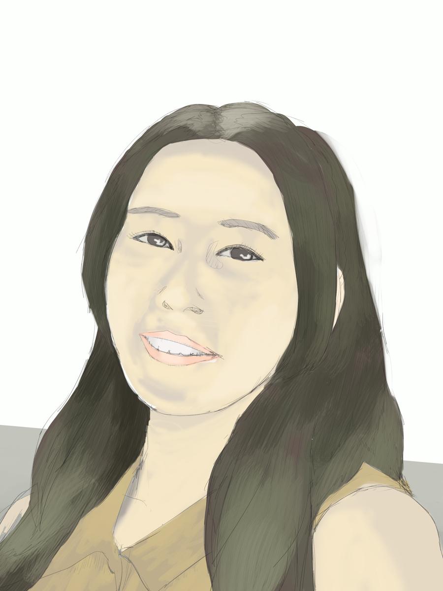 寿美菜子を描く スケッチを塗る