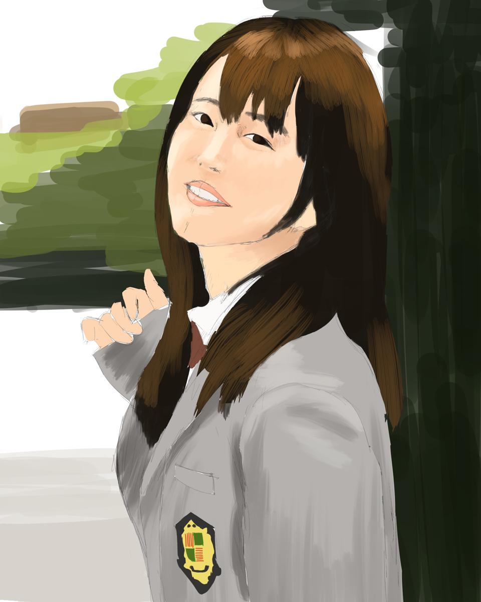 女性声優の内田真礼を描き写す スケッチ