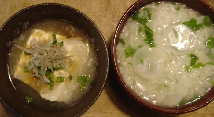 みぞれ湯豆腐&春の二草かゆ