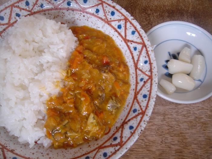 牡蛎のスモークと野菜カレー