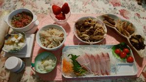 晩御飯 すき焼き 刺身 ホタテ飯 煮物3品