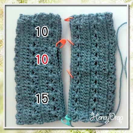 かぎ針編みのハンドウォーマー親指位置