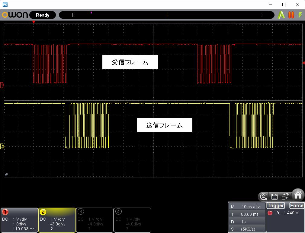 アンパンマン電動レールでGO!GO!DX(赤外線コード変更)動作時赤外線信号波形1