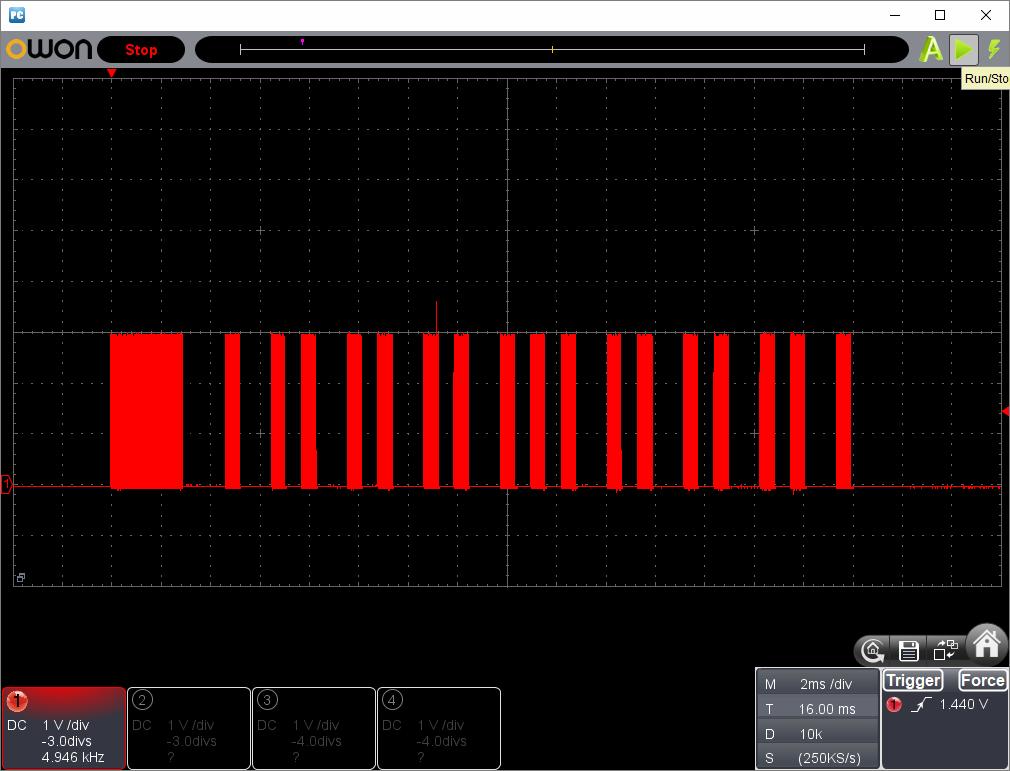 アンパンマン電動レールでGO!GO!DX(クローンリモコン製作)動作時赤外線信号波形2