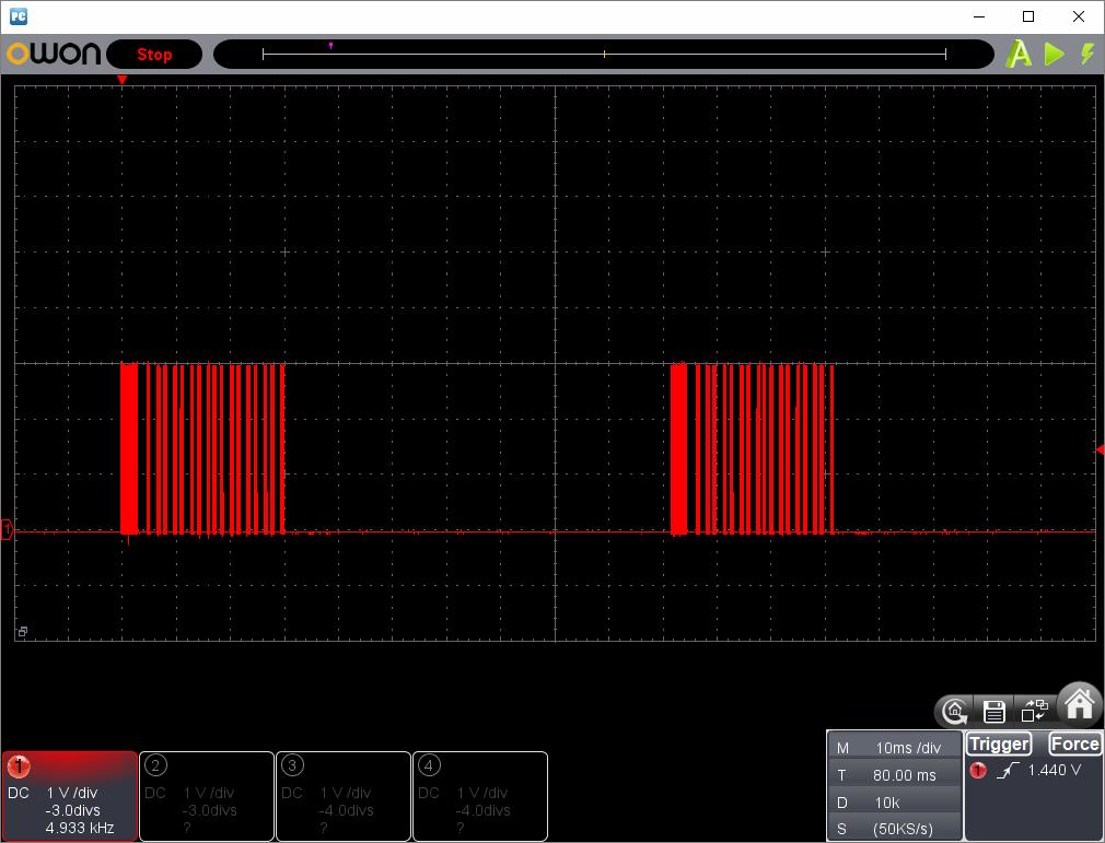 アンパンマン電動レールでGO!GO!DX(クローンリモコン製作)動作時赤外線信号波形3
