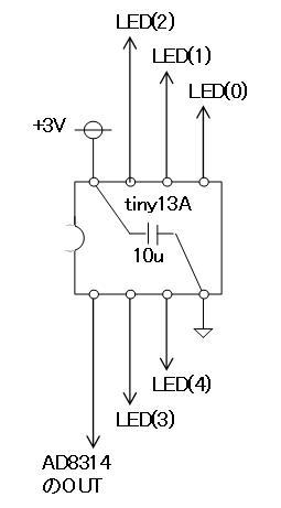 RFチェッカー表示部の製作(ATtiny13A版)回路図1