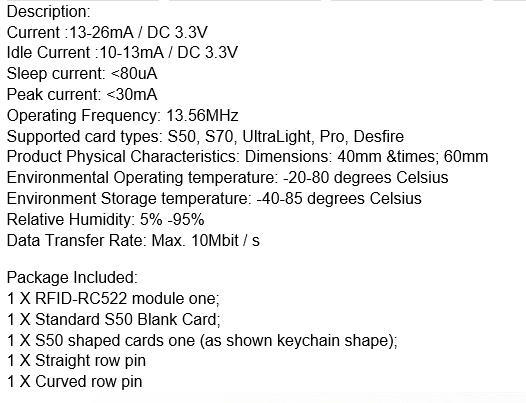RFIDタグからシリアル番号を取得するRC522商品2