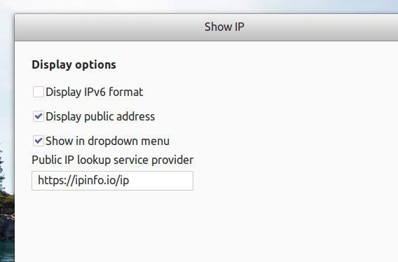 Show IP Ubuntu GNOME拡張機能 IPアドレス オプション