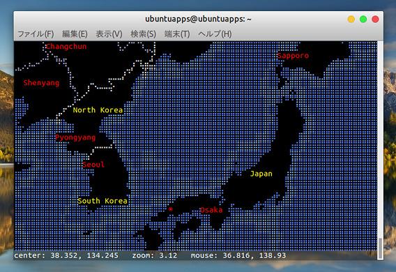 MapSCII Ubuntu 世界地図 コマンド