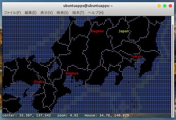 MapSCII Ubuntu 世界地図 操作方法 ズームイン
