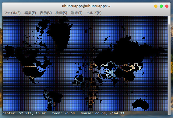MapSCII Ubuntu 世界地図 操作方法 ズームアウト