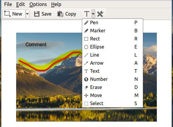 ksnip Ubuntu スクリーンショット 描画ツール