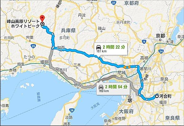 04地図、所要時間は約2時間22分