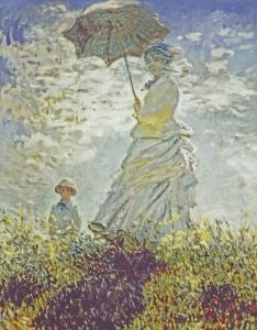 モネ 散歩 日傘を差す女性