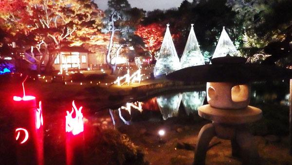 「肥後細川庭園」灯籠とあかり