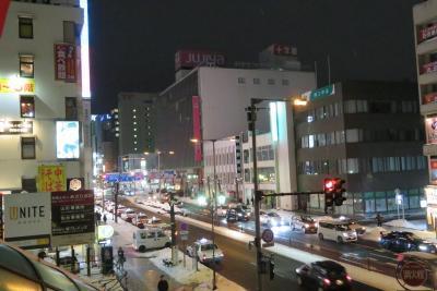 山形駅から望む夜の百貨店「十字屋」