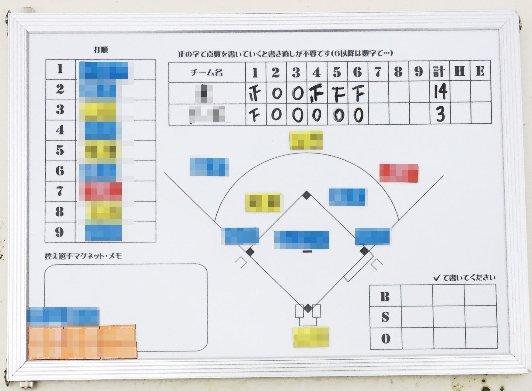 少年野球・マグボード野球作戦版(A4横)観戦用(実践)