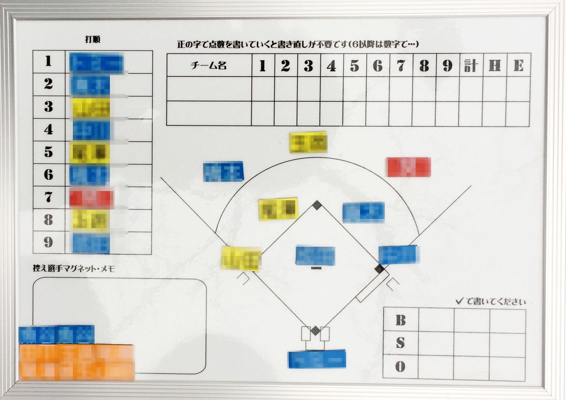 少年野球・マグボード野球作戦版(A4横)観戦用