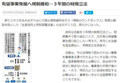 「規制のサンドボックス」制度に関する読売新聞の記事