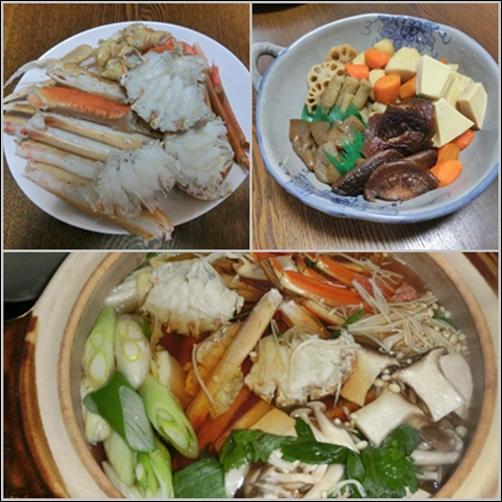 catsカニ鍋と煮しめ