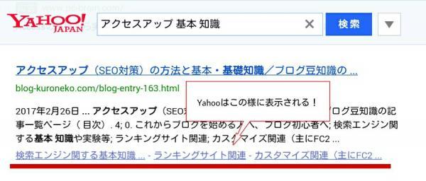 Yahooの検索画面で目次が表示された様子