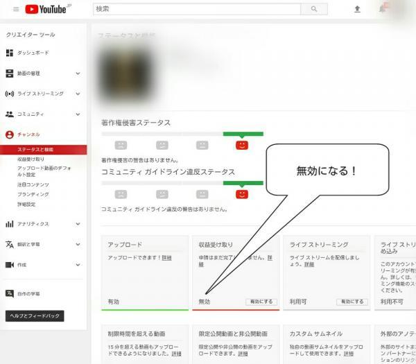 YouTubeの管理画面