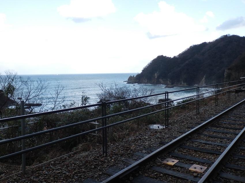 旧線路と日本海
