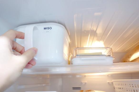冷蔵庫・冷蔵室・最上段・セリア・みそストッカー①