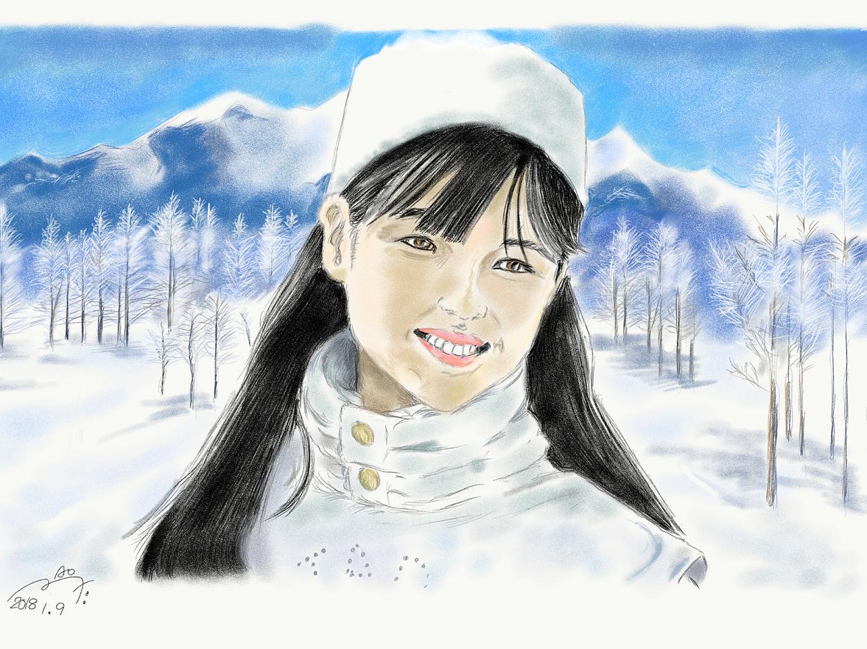 『私をスキーに連れてって』原田知世の似顔絵
