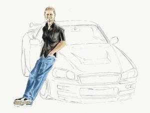 『ワイルドスピード』ポール・ウォーカーの鉛筆画似顔絵途中経過