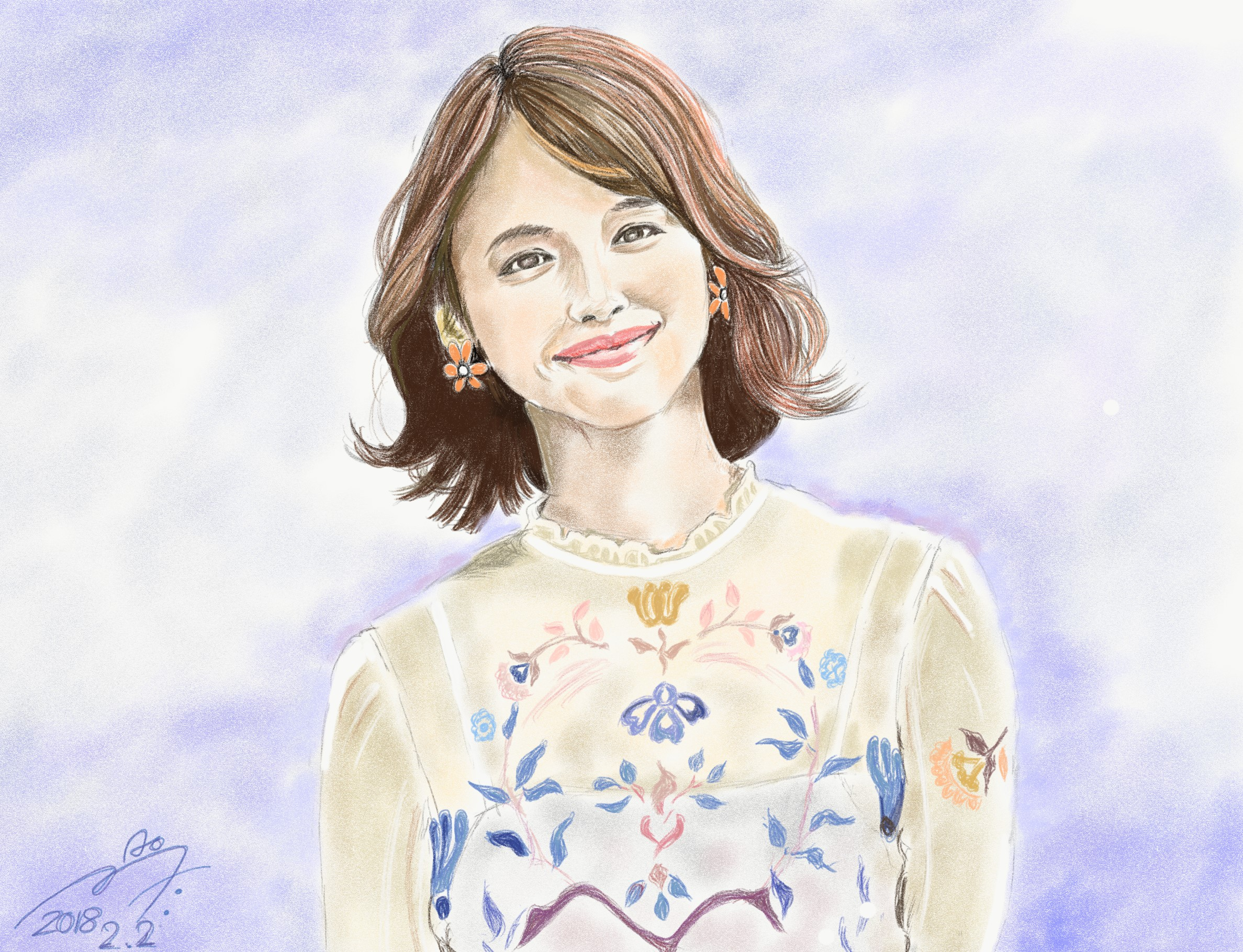 石田ゆり子の似顔絵