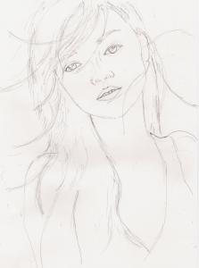 白石麻衣の鉛筆画似顔絵途中経過
