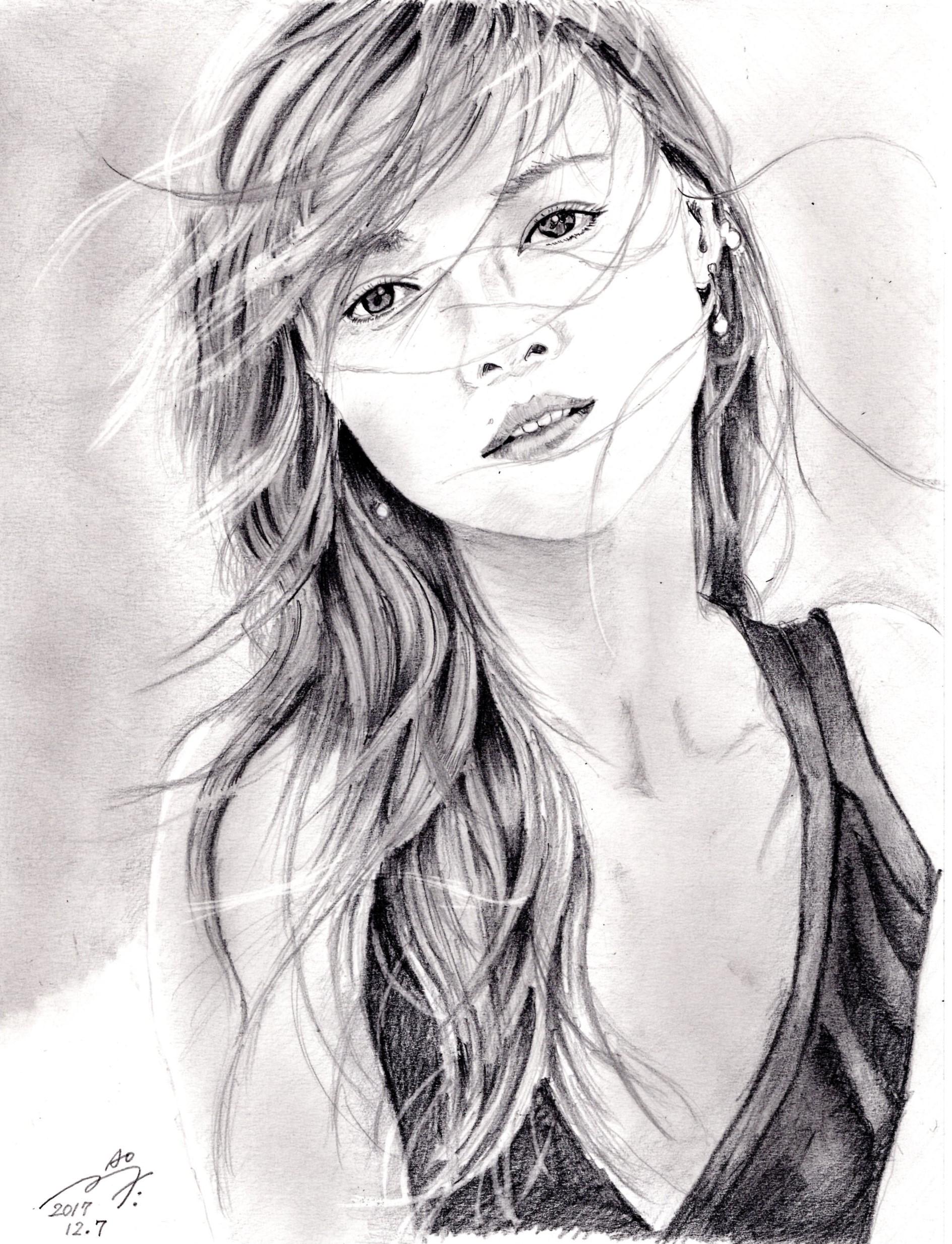 白石麻衣の鉛筆画似顔絵