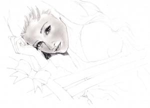 アリアナ・グランデの鉛筆画似顔絵途中経過