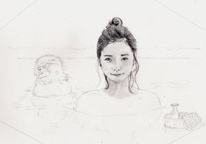 松岡茉優の鉛筆画似顔絵途中経過