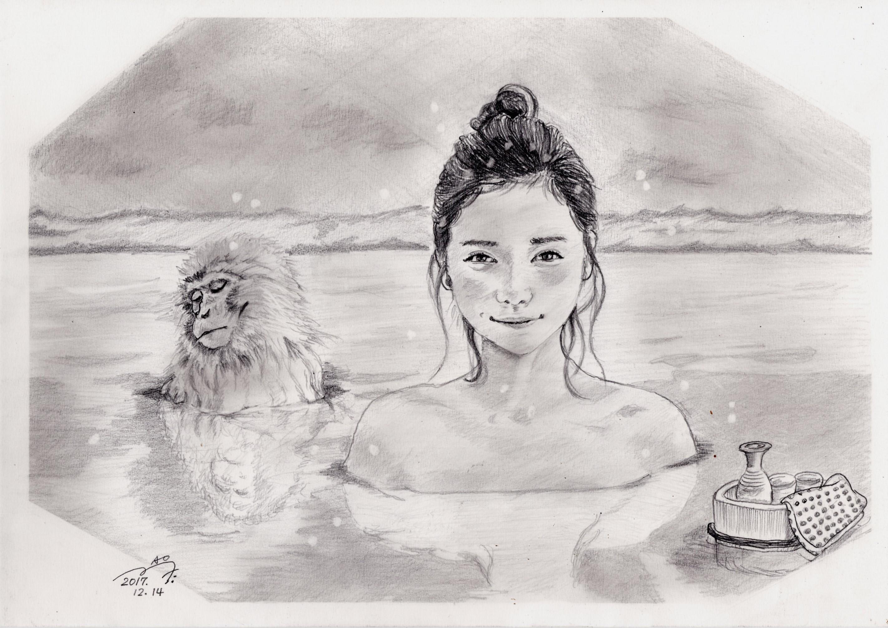 松岡茉優の鉛筆画似顔絵
