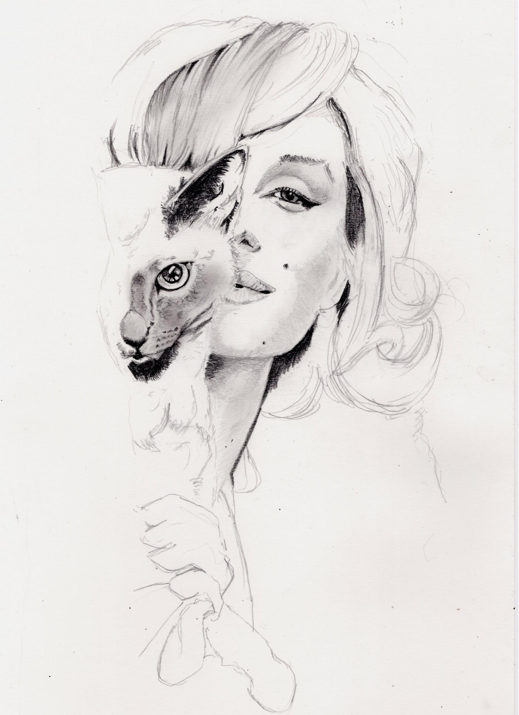 マリリンモンローと猫鉛筆画似顔絵途中経過