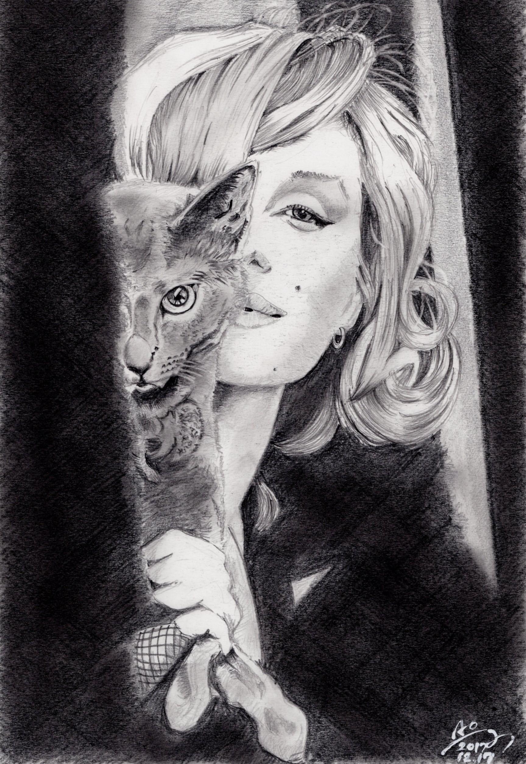 マリリン・モンローの鉛筆画似顔絵