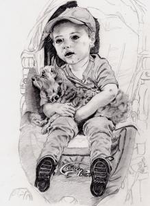 ミランダ・カーの息子フリン君の鉛筆画似顔絵途中経過