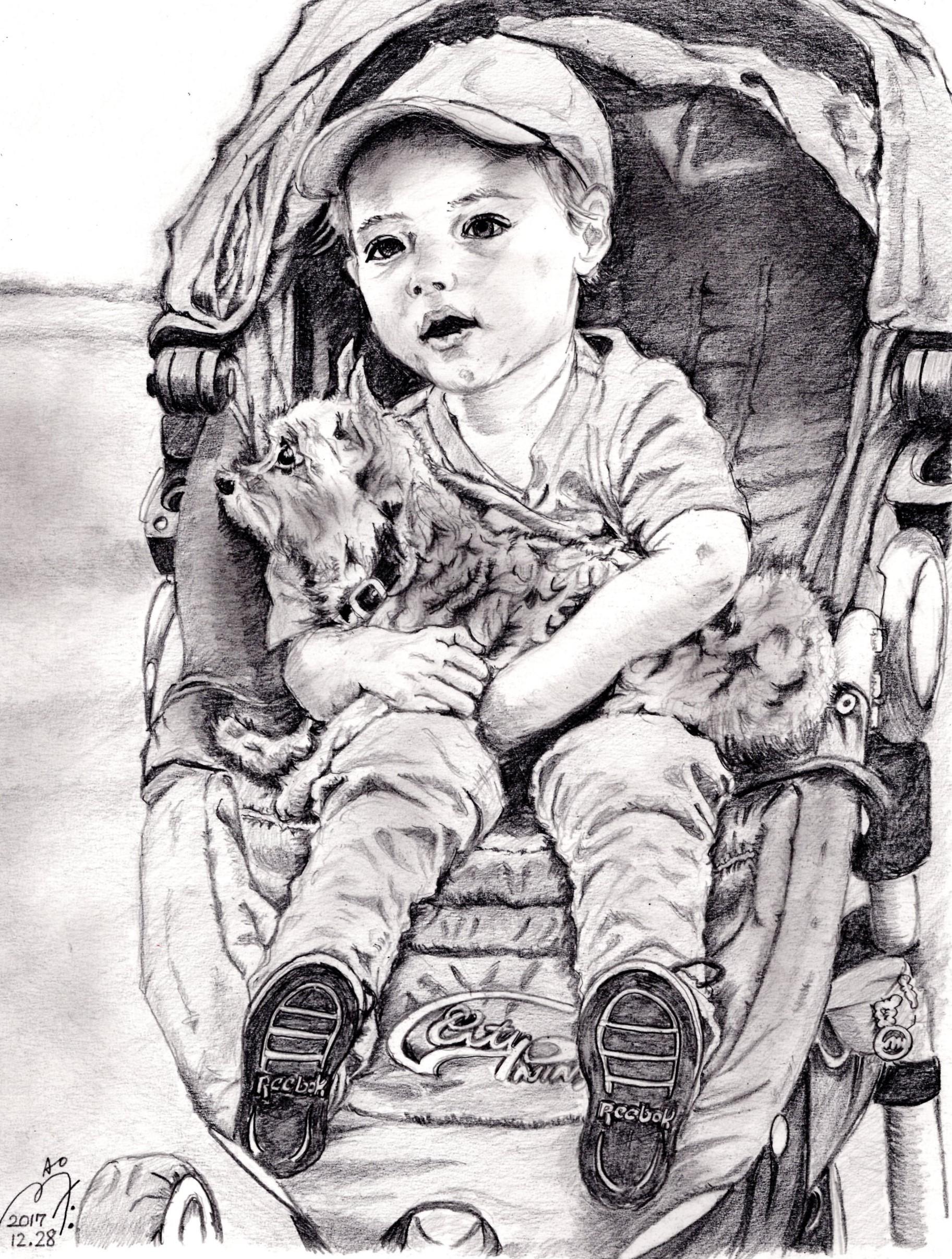 ミランダ・カーの息子フリン君の鉛筆画似顔絵