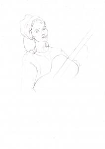 オードリー・ヘップバーンの鉛筆画似顔絵途中経過