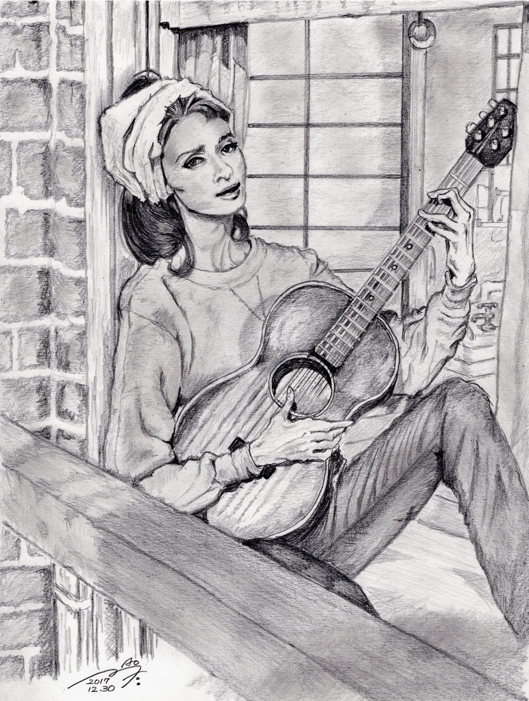 オードリー・ヘップバーンの鉛筆画似顔絵 Audrey Hepburn pencil drawing