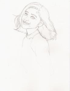 篠原涼子の鉛筆画似顔絵途中経過