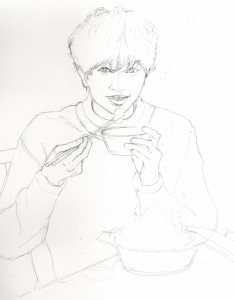 中島健人の鉛筆画似顔絵途中経過