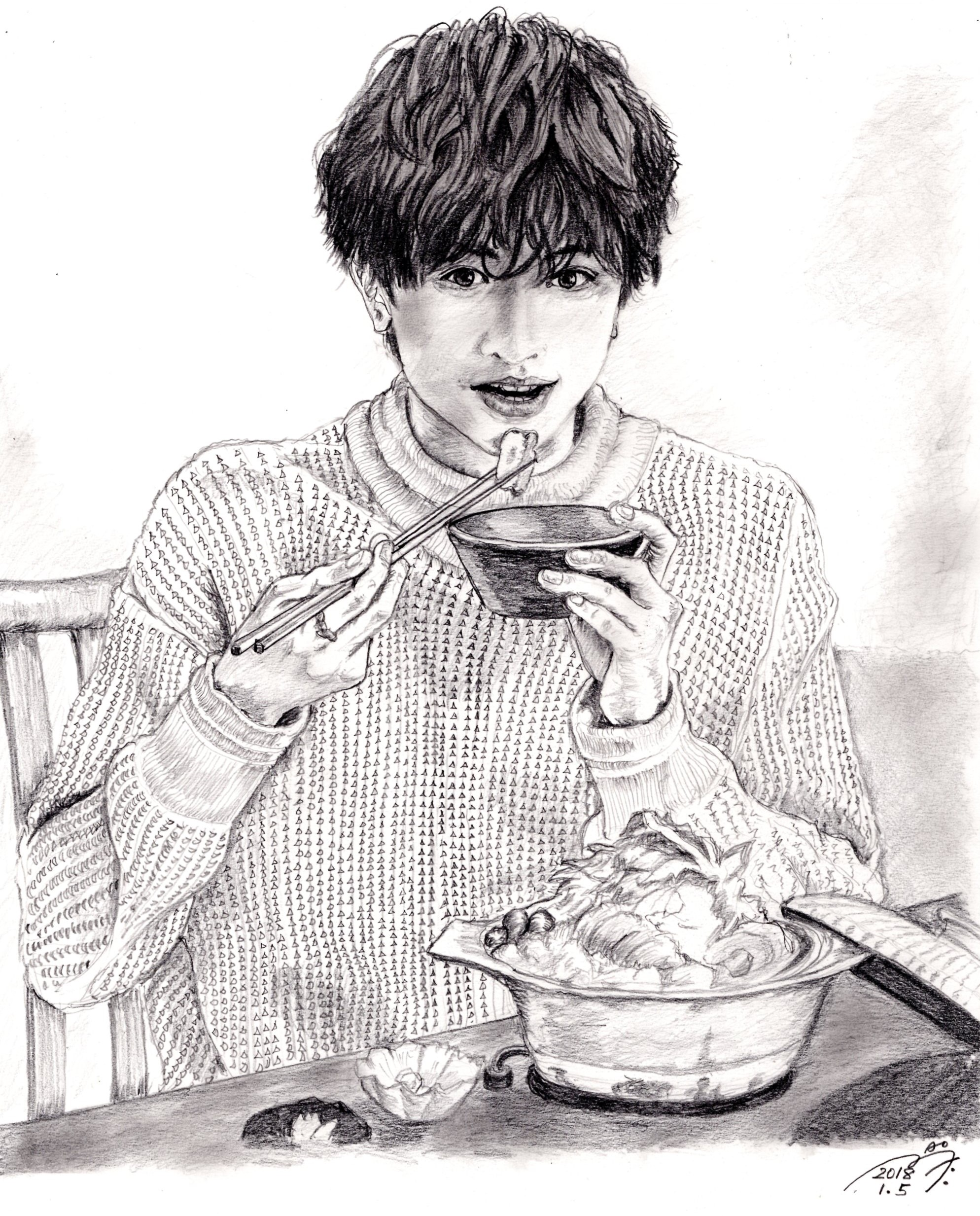 中島健人の鉛筆画似顔絵