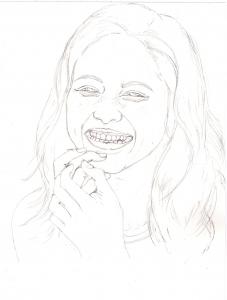 石原さとみの鉛筆画似顔絵途中経過