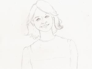 石田ゆり子の鉛筆画似顔絵途中経過