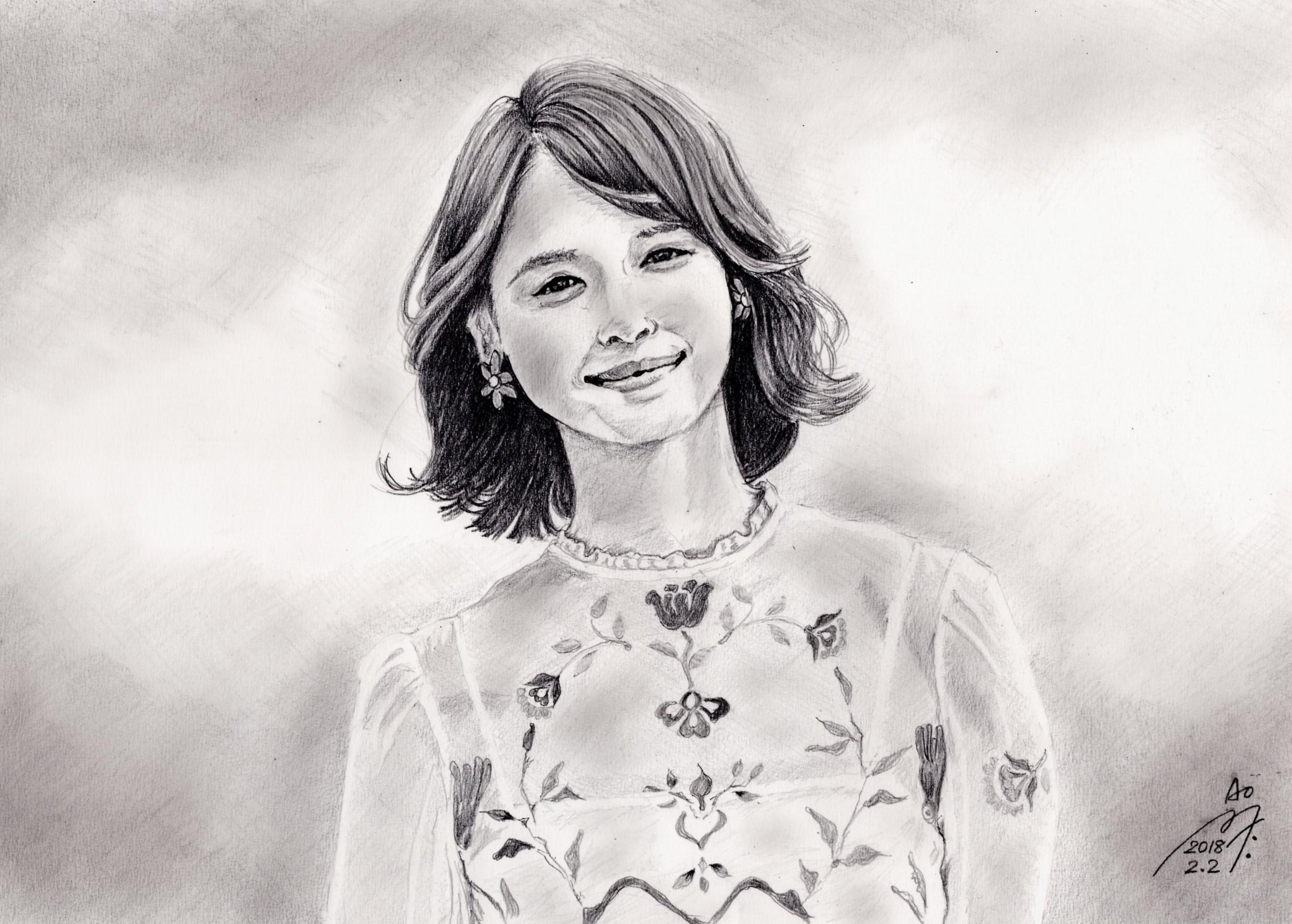石田ゆり子の鉛筆画似顔絵