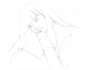 小松菜奈の鉛筆画似顔絵途中経過